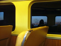 reflected traveller (Miss Plum) Tags: commuting patco train travel passenger benfranklinbridge reflection yellow 5x7