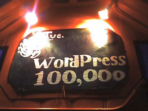 WordPress 100,000 sign