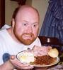 HAM! (Tie Dye Jedi) Tags: food funnyface smile topv111 beard photo beans eating bald plate ham topv150 deviledegg fatso petitjeanham topv300 interestingness242 i500 scorpioappetite
