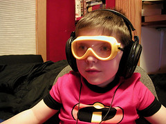 my odd little man, I mean superhero (massdistraction) Tags: theincredibles incredibles supersuit pajamas pyjamas pjs headphones sennheiser superheroheadphones superhero goggles littleman son cute boy odd withlasers