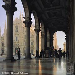 Duomo Arcade (JMichaelSullivan) Tags: 2002 italy milan mamiya square 100v arcade 10c 10f badge duomo 200v 3000v 500v m7 mamiya7 mjsfoto1956 1000v 400v 20f 2000v 1500v 2500v