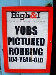Funny Ham & I headline: YOBS PICTURED ROBBING 104-YEAR-OLD