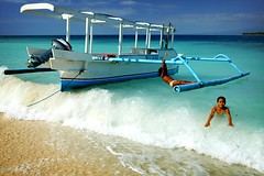 surfing girls - water sun blue kids white boat indonesia girls fun happy surf game