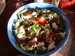 Lettuce, tomato and basil salad
