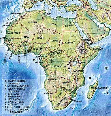 Labelled African map