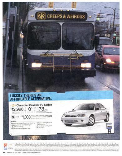 Creeps & weirdos GM ad against transit