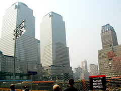 one WTC - Sept 11, 2002 (dulcelife) Tags: 911 wtc newyorkcity newyork wallstreet worldtradecenter twintowers dulcelife path financialdistrict disaster groundzero olympus olympus4500