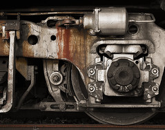 Train Truck Detail (iso100) Tags: bw brown wheel 510fav train truck canon rust conversion favorites 10d fl portfolio 110fav kissime apopka sitesetbw exploretop20