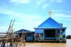 floating church (Farl) Tags: travel lake heritage boats boat cambodia catholic faith religion culture waters tradition siemreap tonlesap kampuchea chongkhnies churcn