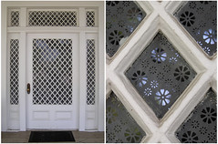 Diamond field glass door (readerwalker) Tags: door white glass doors patterns entrance glassdoors entrances diptychs patternsanddesigns frontdoors tinywindows diamondpattern grandoldentrances picturedetails