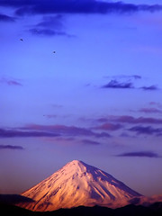 Mount Damavand (Hamed Saber) Tags: blue sunset sky snow mountains topf25 birds geotagged persian interestingness high iran damavand topv1111 topc50 peak persia mount saber iranian tehran  hamed cloads alborz farsi     interestingness8 flickrexplore           geo:lon=513525 geo:lat=35715158 5671m