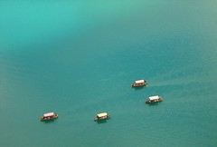 Pletna boats on lake Bled (Herr Specht) Tags: blue lake green water boats slovenia bled pletna pletnas 0x49968e