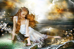 Whatever Will Be Will Be (Gale Franey) Tags: fish girl fairytale graphicart photoshop graphicdesign child digitalart danielle fantasy montage computerart daydream computergraphics martine composit lullaby phantasy galefraney whateverwillbewillbe passionateinspirations