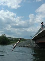 yk river (jermsolson) Tags: bridge river jump north dive nwt speedo northwestterritories yellowknife