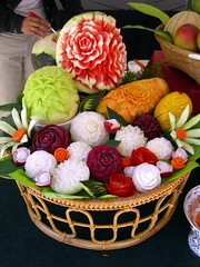 Carved Fruit (thetaiko) Tags: city chicago vegetables festival fruit carved downtown basket cucumber carving carve thai carrot onion tomatoe watermellon mellong