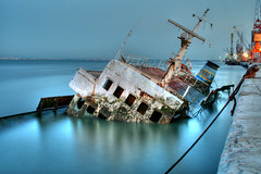 forgotten (pedro vidigal) Tags: abandoned portugal glass night wow bravo ship sink harbour decay lisboa lisbon tripod gimp surreal most shipwreck linux mast wreck hdr decaying glassy doca favorited ufraw naufrgio myfirsthdr pedrovidigal challengeyouwinner p1f1