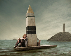 Pyramids of the Sea (Mattijn) Tags: sea selfportrait cat pyramid surreal obelisk photomontage messenger pino austerlitz mattijn magicrealism pyramidsofthesea