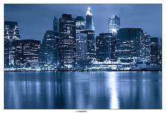 Financial District (Arnold Pouteau's) Tags: nyc newyorkcity blue newyork night river downtown manhattan frombrooklyn