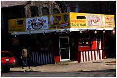 Doggie Diner nocturne (swanksalot) Tags: urban chicago photoshop restaurant us hotdog il sidewalk overexposed nocturne chicagoist photosketch swanksalot sethanderson