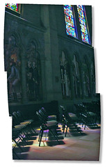 Grace's Light (O Caritas) Tags: sanfrancisco california windows light shadow autostitch panorama church composite shadows cathedral chairs july stainedglass 2006 nobhill gracecathedral nikoncoolpix8800 2006bypatricktpowerallrightsreserved
