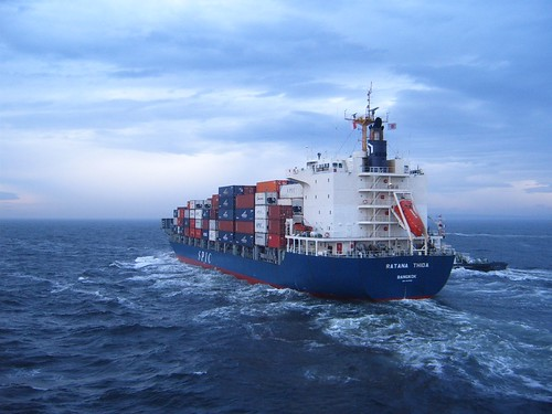 Container ship in rough sea