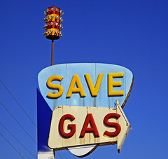 Save Gas (FotoEdge) Tags: savegas gas gasoline fullserve selfserve mideast boycott bigoil greed exxon kansascity missouri 40hwy spike