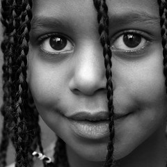 Refugee Girl (Dutch Design Photography) Tags: portrait baby white black art feet girl face kids duck eyes hand afro bubbles pop