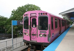 Pink Line train at Kedzie