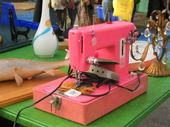 pink sewing machine on a green table (sic transit gloria) Tags: losangeles fairfax westhollywood swapmeet melrosetradingpost