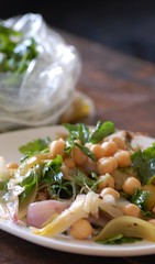 roast baby onion & chickpea salad