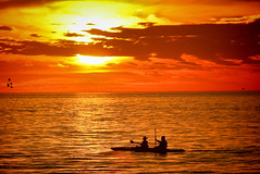 Kayaking Sunset (Brian 104) Tags: sunset kayak couple gulfofmexico red orange ilobsterit