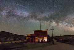 A Comet and the Milky Way over Bodie Ghost Town (Dave Toussaint (www.photographersnature.com)) Tags: california ca travel sky usa nature northerncalifornia canon stars landscape photo interestingness interesting photographer picture august explore adobe getty norcal milkyway adjust bodieghosttown 2015 denoise wheatonandhollishotel topazlabs photographersnaturecom davetoussaint 5dmarkiii creativecloud photoshopcc bodiefoundationlnight cometgoogle