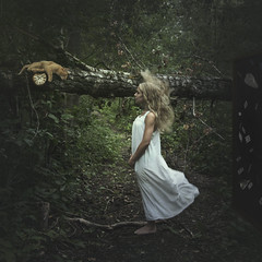 The other side of the looking glass. (22/52) (julia.adams30) Tags: portrait green forest cat photoshop self inspired manipulation disney blonde concept conceptual aliceinwonderland gopro
