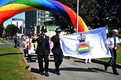 """Gay Police Association taking the lead of the Parade as we enter the Hoe throgh a Rainbow arch. • <a style=""""font-size:0.8em;"""" href=""""http://www.flickr.com/photos/66700933@N06/20633199071/"""" target=""""_blank"""">View on Flickr</a>"""