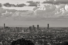 Brisbane View: Black & White (gecko47) Tags: city bw skyline architecture landscape cityscape dusk overcast brisbane suburbs outlook cbd storybridge mtgravatt
