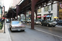 Impala (Flint Foto Factory) Tags: city roof summer urban brown chicago building chevrolet june train wednesday early washington illinois spring beige gm downtown afternoon cta traffic loop flag platform vinyl tracks garland mcdonalds chevy american lincoln l late 111 intersection rushhour 1978 elevated impala pm coupe wabash fullsize chicagotransitauthority generalmotors lanebryant 2door 2011 downsized mkz nwabash worldcars bbody