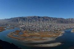 30095422 (wolfgangkaehler) Tags: city monument asian colorful asia hill aerialview mongolia centralasia aerialphotography aerials mongolian colorfulhouses aerialphotos viewofcity ulgii westernmongolia lgii bayanulgiiprovince monumenttothe75thanniversary