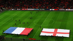 France and England flags on the Wembley pitch ahead of the friendly international (Ben Sutherland) Tags: france wembley lamarseillaise englandvfrance liberteegalitefraternite frenchteam frenchfootball frenchfootballteam frenchfootballfederation francefootballteam parisattacks francefootballfederation