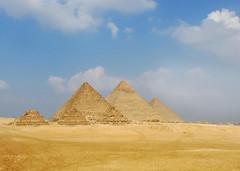 Giza Pyramids, Egypt (shaire productions) Tags: world travel sculpture history monument photo desert image egypt picture landmark photograph egyptian luxor mythology ancientegypt saharadesert