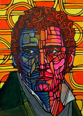 Portrait Practice (nancygamon) Tags: pink blue portrait orange man male green colorful curlyhair acrylicpaint segmented linework