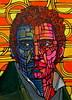 Portrait Practice (nancygamon) Tags: pink blue portrait orange man male green colorful curlyhair acrylicpaint segmented linework