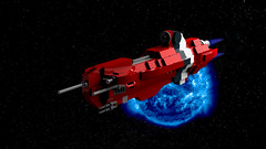 Ductus Command Ship (bluemoose) Tags: red scale photoshop lego space micro nano lrt ldd imperium commandandcontrol rufescent bluerender ductusclass vecturaclass