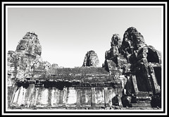 Angkor Thom - the temples 3 bw (calamur) Tags: architecture cambodia buddhist religion temples siemreap buddhisttemple angkorthom harinicalamur nikond7000