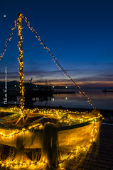 Greek christmas (Mike Economou) Tags: christmas island greek lights boat decoration greece tradition evia orei seasunset euboia