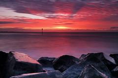 Red Hour (Langstone Joe) Tags: longexposure seascape sunrise haylingisland shoreline hampshire solent groyne altocumulus reddawn