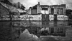 silence (pmies photo) Tags: blackandwhite outdoor ruins cloudy cloudyday rainyday rain reflections bw silence havoc destroy destroyed puddle puddleofwater
