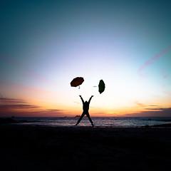 Happy new year 2017 (Zeeyolq Photography) Tags: 2017 alone beach bretagne france happy happynewyear jump sea sunset umbrella plouarzel