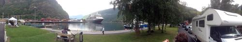 Panorama with the Queen Elizabeth Moored in Flåm (3)