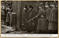 Battle of Stepney : Mr Winston Churchill (1911) (The Wright Archive) Tags: seige siege sidney street stepney london vintage postcard valentines 1911 winston churchill battleofstepney east end gunfight police army latvian immigrants revolutionaries policemen george gardstein top hats rifles guns shot gunfire battle shootout social history uk twentieth century eastlondon wright archive rppc 1900s