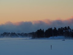 Thin ice and thick seafog on the southern side of the mark! (Jarno Nurminen) Tags: morning sunrise balticsea water freezing mist seasmoke finland helsinki hanasaari navigationmark cardinalmark